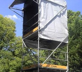 Bâches en PVC pour protection des intempéries de personnel et matériel.